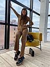 Вязаный женский костюм с брюками клеш и удлиненной кофтой с воротником 83ks1103, фото 6