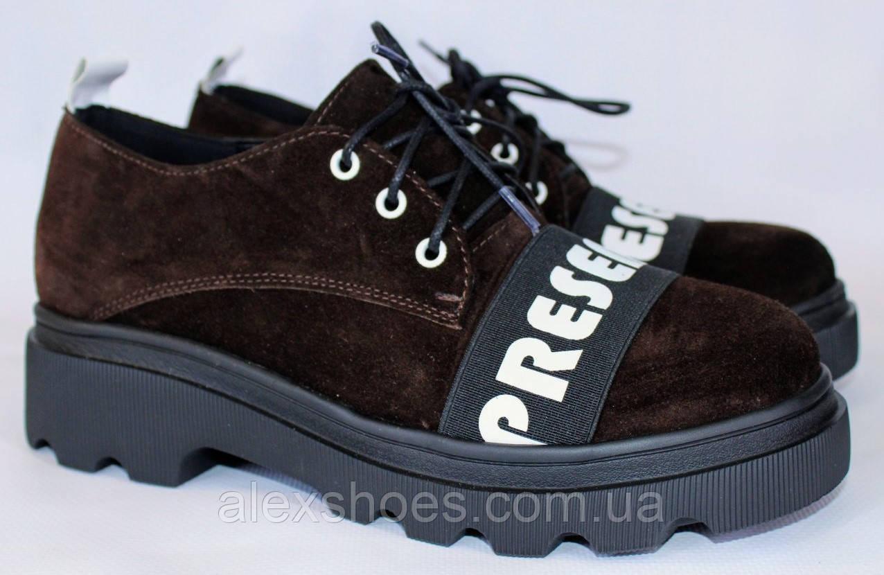 Туфли женские из натуральной замши от производителя модель ОУ9010
