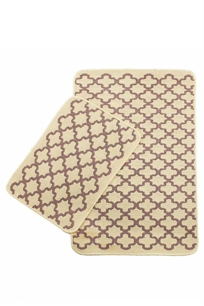 Набор ковриков  SOLO 40*60+60*90  KREM PEMBE GEOMETRI