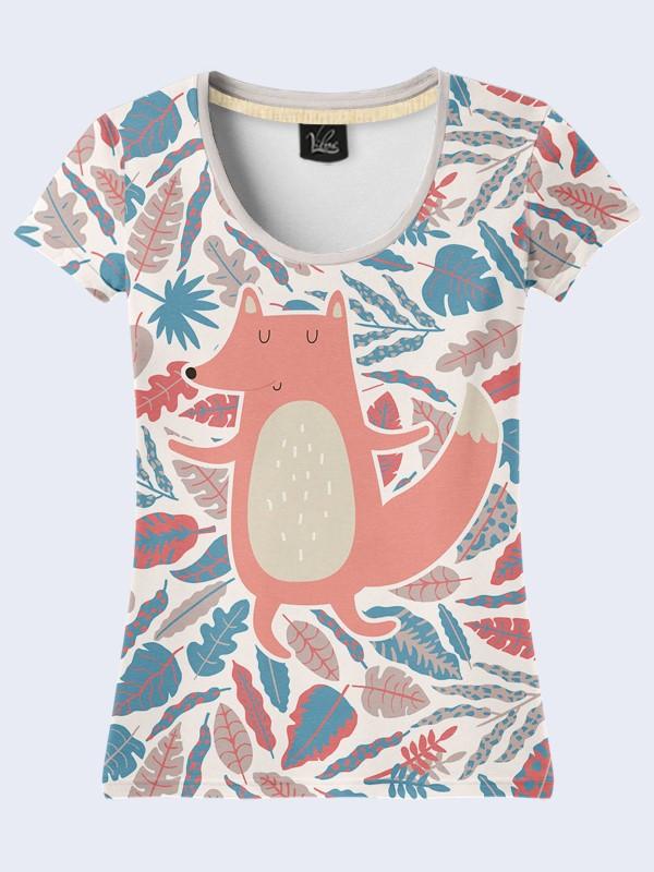 Женская футболка с принтом Лиса в листьях Размер XS, S, M, L, XL
