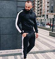 Спортивный костюм мужской весна-осень черный лампасы стильный Турция. Живое фото. Чоловічий спортивний костюм