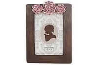 Рамка для фото прямоугольная с объемным декором, 21см, цвет - темно-коричневый с розовым