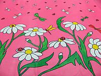 """Ткань плащевка """"Ромашки и стрекозы"""" малинового цвета, фото 1"""