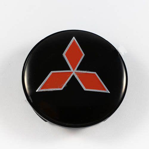 Ковпачок для диска Mitsubishi чорний / червоний лого (59 мм)