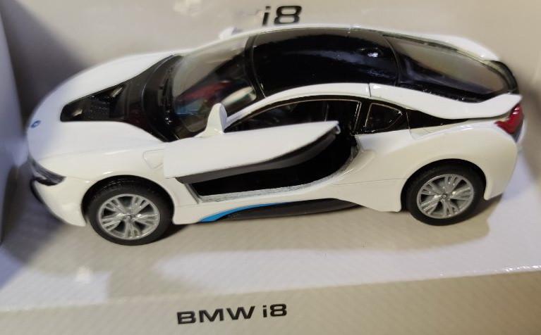 Детская металлическая машинка BMW i8 1:32 метал белый