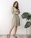 Светло-зеленое платье с оригинальной драпировкой, фото 2