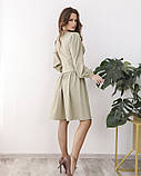 Светло-зеленое платье с оригинальной драпировкой, фото 3
