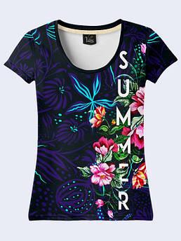Женская футболка с принтом Цветы лета