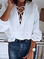 Блуза женская с переплетом на груди (разные цвета)