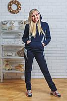 Утепленный спортивный костюм женский темно-синий