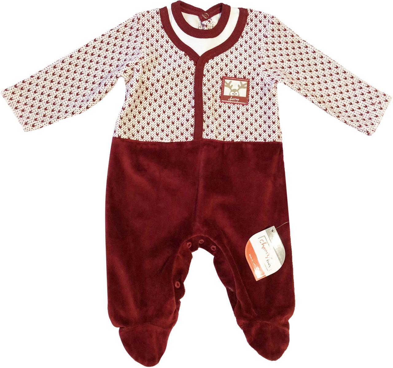 Детский человечек рост 62 2-3 мес велюровый бордовый на девочку слип для новорожденных малышей ТН102