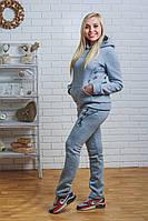 Утепленный спортивный костюм женский светло-серый