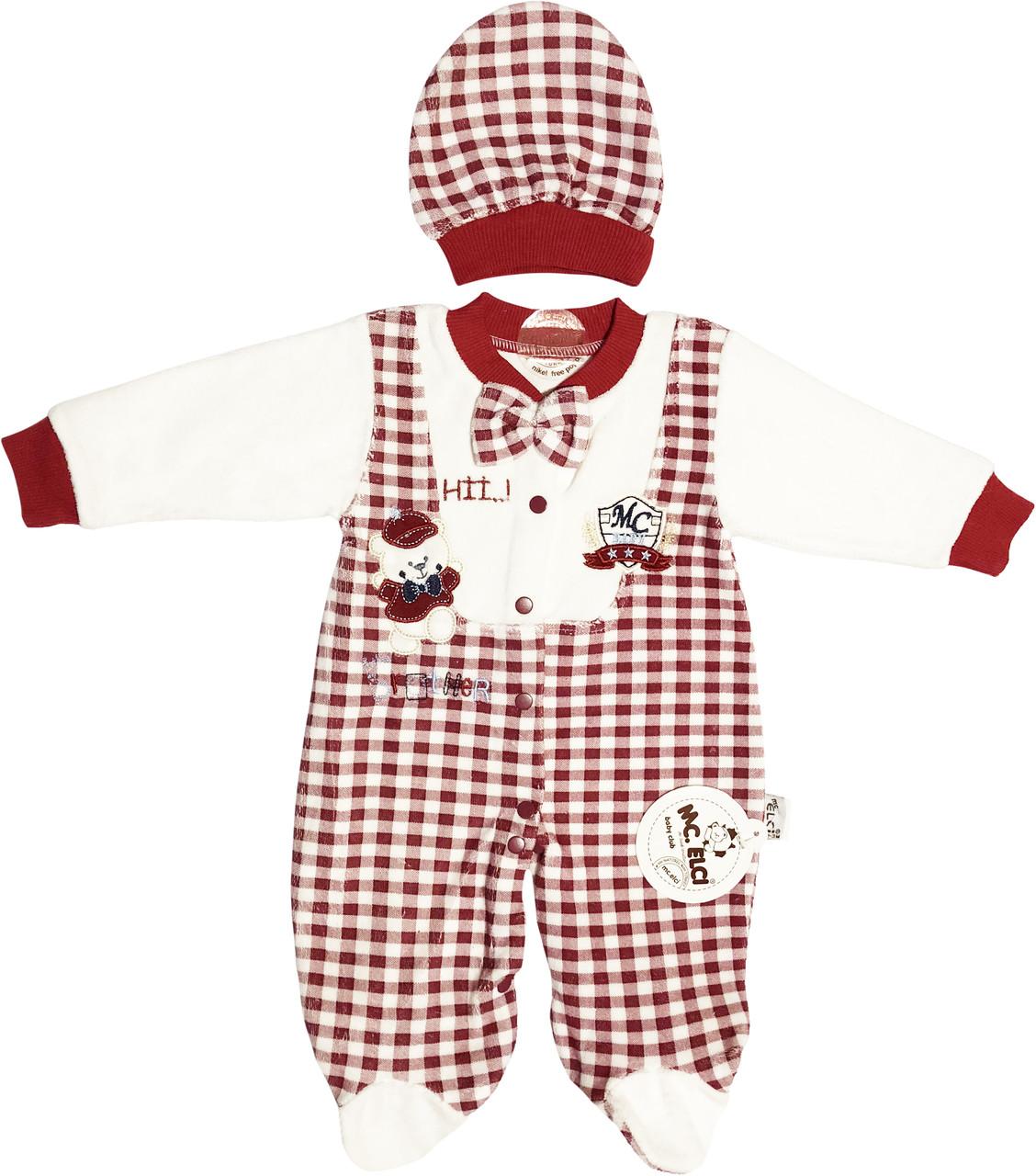 Чоловічок на дівчинку зріст 68 3-6 міс для новонароджених малюків сліп з шапочкою дитячий велюровий бордовий
