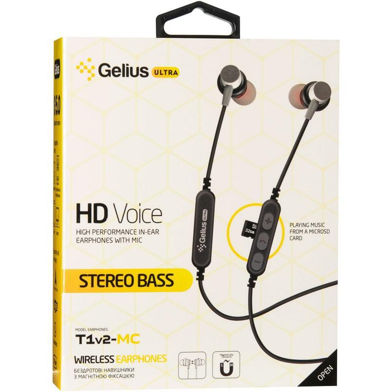 Stereo Bluetooth Headset Gelius Ultra T1v2-MC Black with memory card