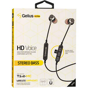 Stereo Bluetooth Headset Gelius Ultra T1v2-MC Black with memory card, фото 2
