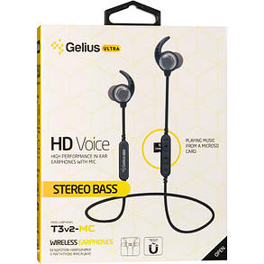 Stereo Bluetooth Headset Gelius Ultra T3v2-MC Black with memory card, фото 2