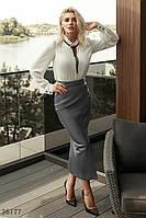 Прямая юбка кожаной фактуры XS S M L, фото 1