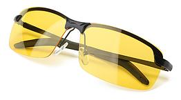 Очки для вождения поляризованные / С ПОЛЯРИЗАЦИЕЙ в открытой оправе с регулируемыми носовыми упорами - ЖЁЛТЫЕ