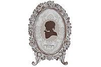 Рамка для фото овальна Будуар, 21.5 см, колір - зістарений білий, розмір фото - 10*15см