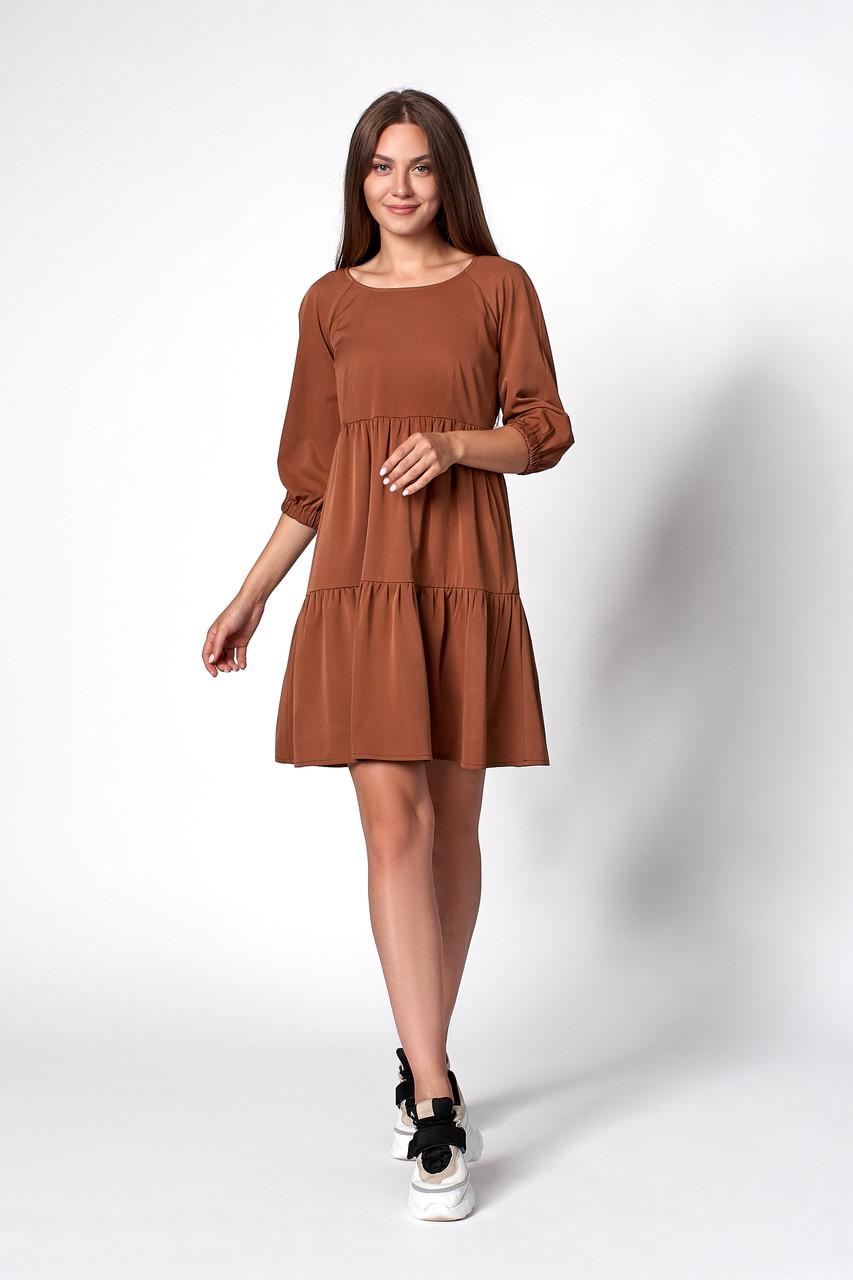 Платье с оборками коричневое