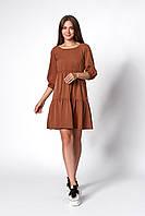 Платье с оборками коричневое, фото 1