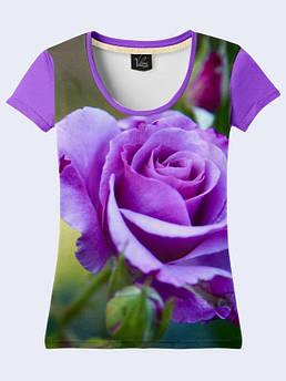 Женская футболка с принтом Фиолетовая роза