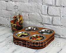 КІТ-ПЕС by smartwood Миски на підставці | Миска-годівниця металева для цуценят собак XS - 4 миски ROSEWOOD