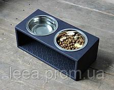 Миска-годівниця металева для собак цуценят - 2 миски 750 мл