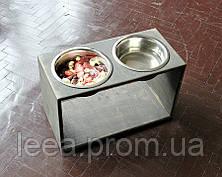 КІТ-ПЕС by smartwood Миска на підставці | Миска-годівниця металева для собак цуценят - 2 миски 1700 мл EBONY