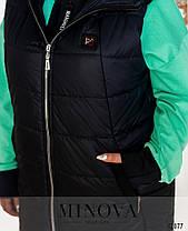 Женский модный спортивный костюм 3-ка с удлинённой стёганной жилеткой с 50 по 64 размер, фото 3