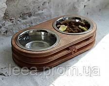 КІТ-ПЕС by smartwood Миски на підставці | Миска-годівниця металева для цуценят собак XS - 2 миски
