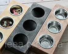 КІТ-ПЕС by smartwood Миска на подставке | Миска-кормушка металлическая для кошек котов котят - 3 миски 200 мл