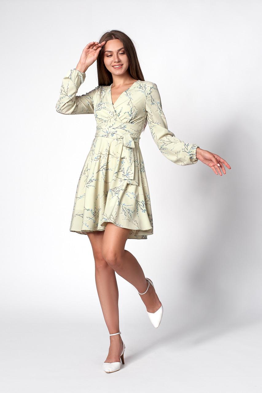 Платье с цветочным принтом оливковое