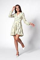 Платье с цветочным принтом оливковое, фото 1