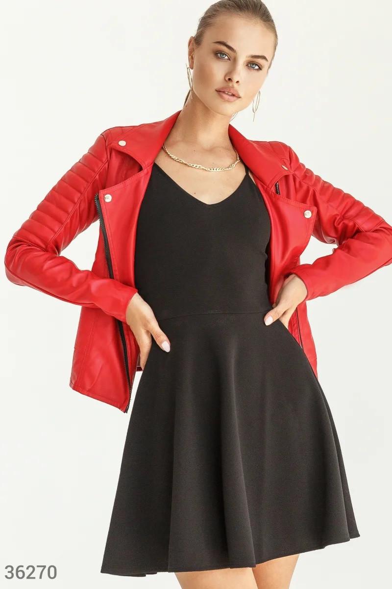 Кожаная куртка-косуха красного цвета S,M,L,XL