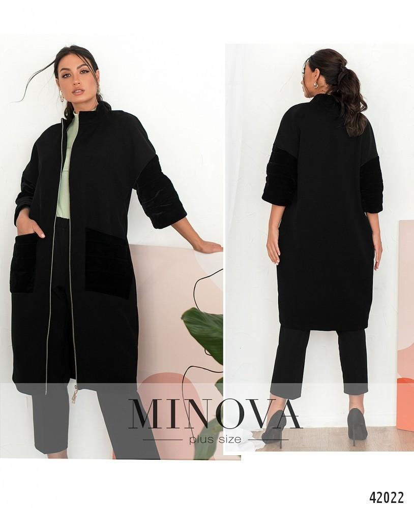 Модное чёрное женское пальто из кашемира  большого размера   50 и  52 размер