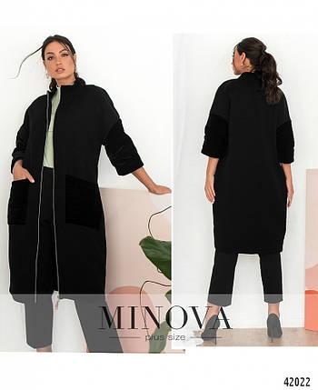 Модное чёрное женское пальто из кашемира  большого размера   50 и  52 размер, фото 2