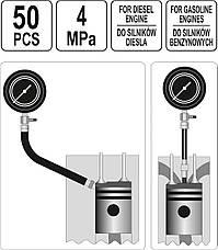Компрессометр для бензиновых и дизельных двигателей YATO YT-73012, фото 3