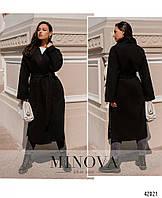 Стильное женское пальто на запах батал с поясом из кашемира большого размера с 52 по 58 размер