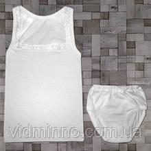 Белый комплект майка с кружевом + трусы на рост 128-134 см - Кулир