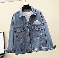 Женская джинсовая куртка оверсайз с вышивкой ромашка 68mku326, фото 1