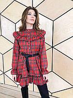 Платье - рубашка в клетку с оборками на груди и юбке, р. S-M 22mpl1578, фото 1