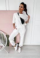 Женский спортивный костюм из двухнитки со свободной кофтой и штанами на манжетах, р. 42, 44, 46, 48 40msp1052, фото 1