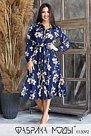 Принтованное платье - рубашка в больших размерах миди длиной, с длинными рукавами 1mbr752, фото 1