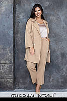 Женский брючный костюм в больших размерах с брюками клеш и пиджаком 1mbr758, фото 1