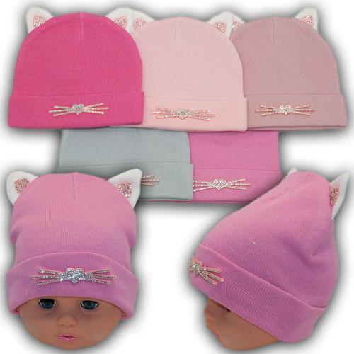 ОПТ Осенние шапки с отворотом и ушками для девочек р. 42-44 (5шт/упаковка)