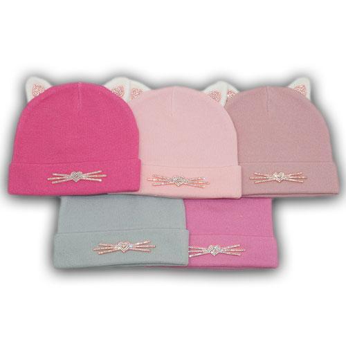 Осенние шапки с отворотом и ушками для девочек
