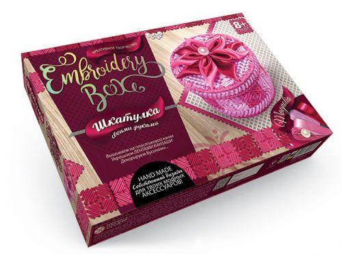 """Набор для вышивания """"Шкатулка Embroidery Box"""" Розовая с цветком EMB-01-01"""