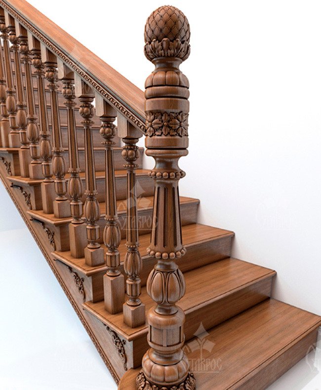 Деревянные резные поручни для лестниц