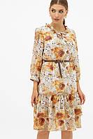 GLEM платье капучино с цветами Элисон 3/4, фото 1
